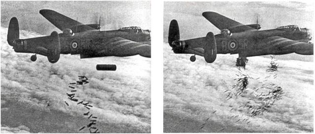 "Lancaster B I dropping 4 lb incendiaries followed by a 4,000 lb ""cookie"" and finishing up with 30 lb incendiaries"