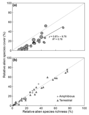 Figure 4: Level of invasion in 24 riparian wetlands illustrated by (a) relative richness, cover and dominance of all alien species, and (b) relative richness and cover of two functional groups – amphibious and terrestrial alien species. (a) Size of the circles indicates Simpson's dominance index calculated using alien species only (range: 0.10–0.54; larger circles indicate wetlands where alien species cover is dominated by fewer species); black line is the line of best fit. (From Catford et al. 2012)