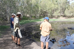 Figure 7: Darren Southwell, Ben Phillips and Mike Letnic examine a natural spring just south of Broome