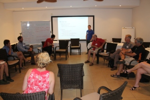 Figure 7: Reid Tingley discusses the feasibility of stopping the spread of toads at a workshop in Broome