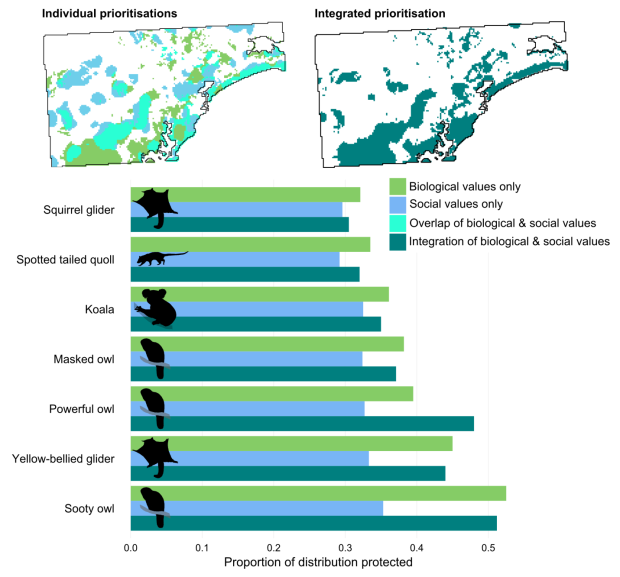 Figure 2. Researchers evaluated the effectiveness of different spatial prioritisation scenarios by isolating the top 30% of each value (biological or social). Six of the seven species' distributions in the Lower Hunter Valley, NSW, were best represented when the prioritisation only included biological values, while all species were less protected when prioritising social values for biodiversity alone. In contrast, the prioritisation of both biological and social values identified areas for conservation that were socially acceptable and did not lead to significant tradeoffs in conservation value.