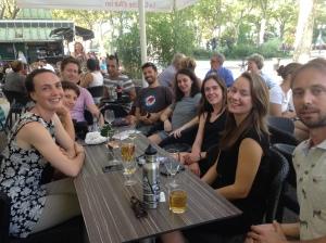 Qaecologists Freya Thomas, Michaela Plein, Darren Southwell, Posing Waiter, Stefano Canessa, Natasha Cadenhead, Kate Giljohann, Heini Kujala, and Zebra Enthusiast (L to R)